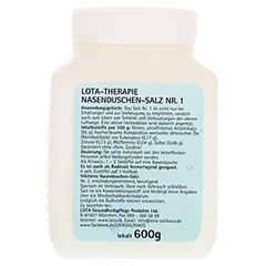 LOTA Nasenduschen Therapiesalz Nr.1 500 Gramm - Rückseite