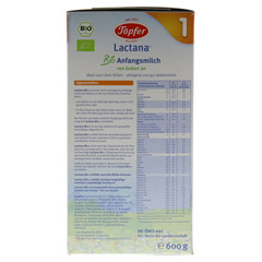 TÖPFER Lactana Bio 1 Pulver 600 Gramm - Linke Seite