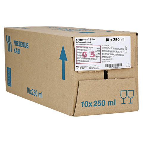 GLUCOSTERIL 5% Glasflasche Infusionslösung 10x250 Milliliter N2