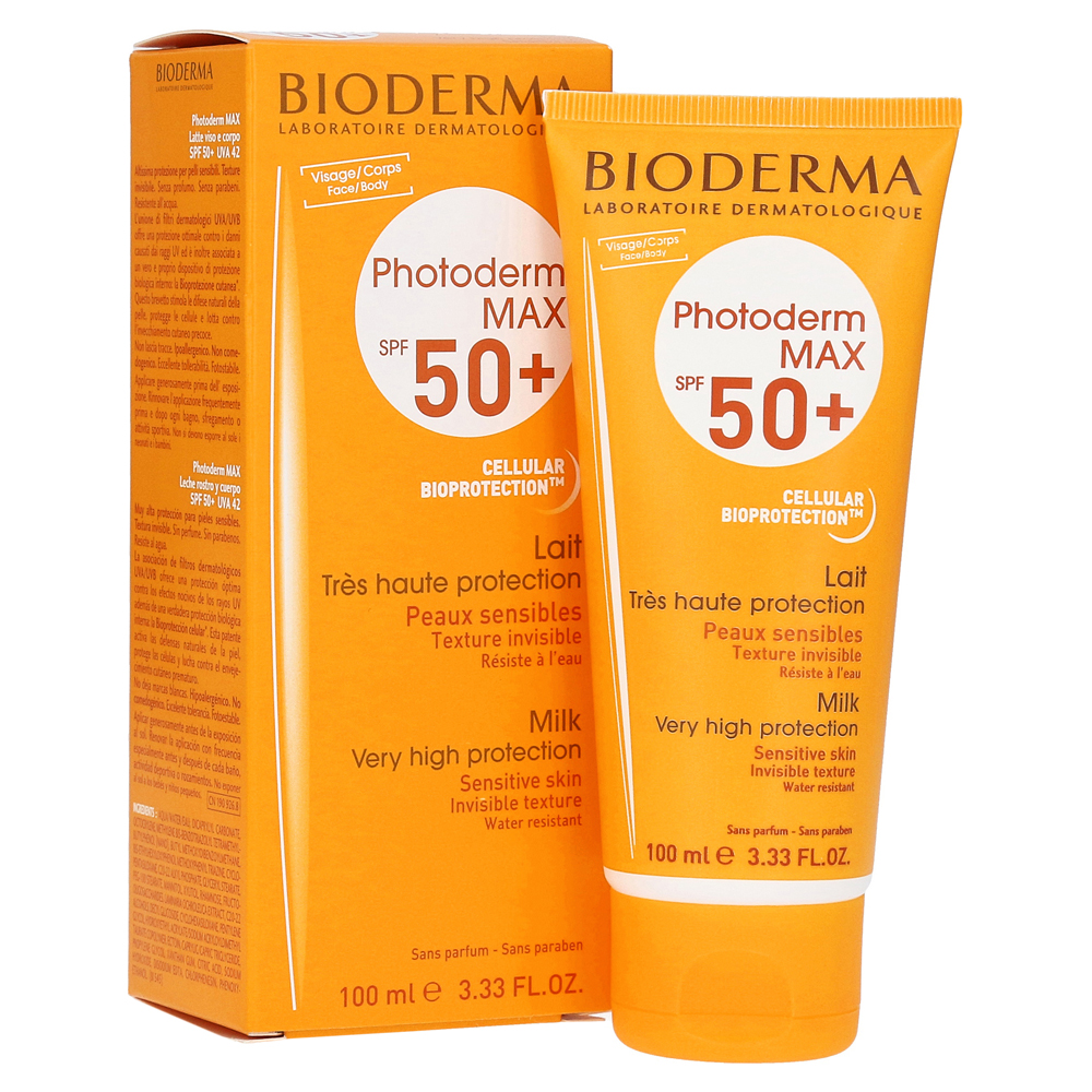 bioderma photoderm max sonnenmilch spf 50 100 milliliter online bestellen medpex versandapotheke. Black Bedroom Furniture Sets. Home Design Ideas