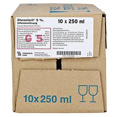 GLUCOSTERIL 5% Glasflasche Infusionslösung 10x250 Milliliter N2 - Vorderseite