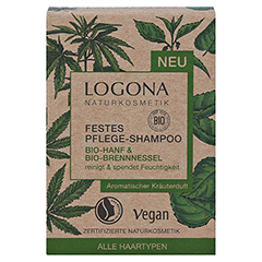 LOGONA Festes Pflege-Shamp.Bio-Hanf&Bio-Brennness. 60 Gramm - Vorderseite
