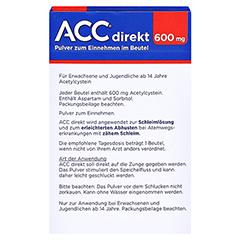 ACC direkt 600mg Pulver zum Einnehmen 10 Stück - Rückseite