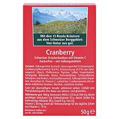 RICOLA o.Z. Box Cranberry Bonbons 50 Gramm - Rückseite
