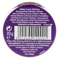 PULMOLL Cassis zuckerfrei Minidose Bonbons 20 Gramm - Rückseite