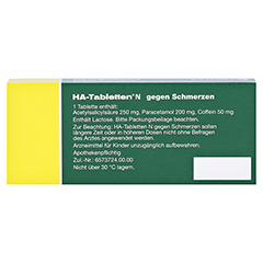 HA-Tabletten N gegen Schmerzen 20 Stück N2 - Rückseite