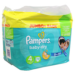 PAMPERS Baby Dry Gr.4 maxi 7-18kg Jumbo plus Pack 78 Stück