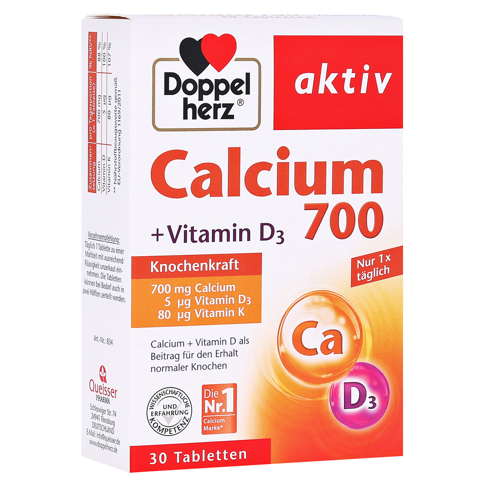 doppelherz calcium 700 vitamin d3 tabletten 30 st ck. Black Bedroom Furniture Sets. Home Design Ideas