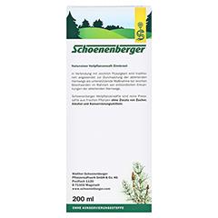 Zinnkraut naturreiner Heilpflanzensaft Schoenenberger 200 Milliliter - Rückseite