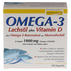 OMEGA-3 Lachsöl plus Vit.D plus Omega3 Konz.Kps. 100 Stück - Vorderseite