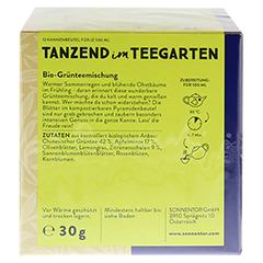 """Sonnentor """"Tanzend im Teegarten"""" Kannenbeutel 30 Gramm - Rückseite"""