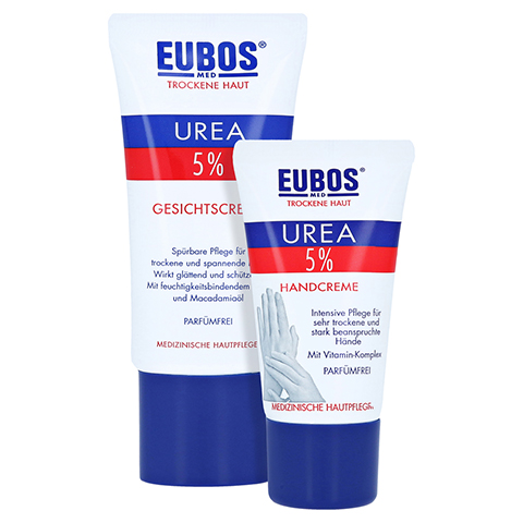 Eubos Trockene Haut Urea 5% Gesichtscreme + gratis Eubos Handcreme 5% Urea 25 ml 50 Milliliter
