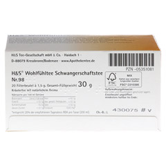 H&S Wohlfühltee feminin Schwangerschaftstee Fbtl. 20 Stück - Unterseite