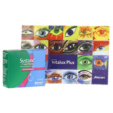SYSTANE Ultra Benetzungstropfen + gratis Systane Brillenputztuch 3x10 Milliliter