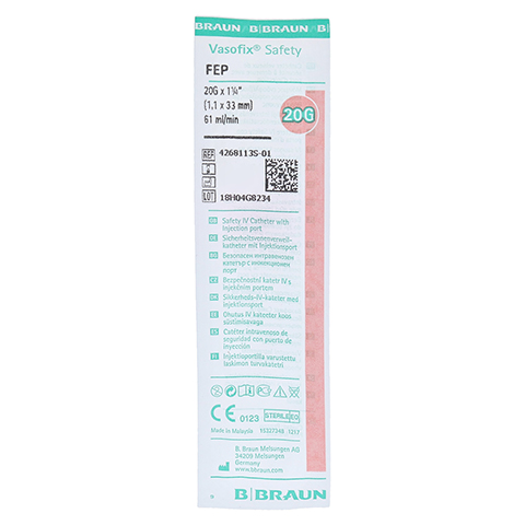 VASOFIX Safety Kanüle 20 G 1,1x33 mm rosa 1 Stück