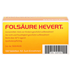 FOLSÄURE HEVERT Tabletten 100 Stück N3 - Unterseite