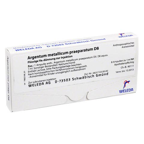 ARGENTUM METALLICUM praeparatum D 8 Ampullen 8 Stück N1