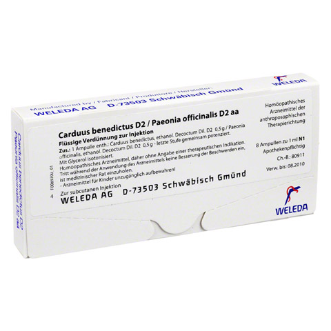 CARDUUS BENEDICTUS D 2/Paeonia offici.D 2 aa Amp. 8x1 Milliliter N1