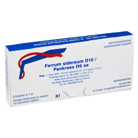 FERRUM SIDEREUM D 10/Pankreas D 6 aa Ampullen 8x1 Milliliter N1