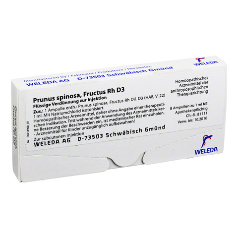 PRUNUS SPINOSA FRUCTUS Rh D 3 Ampullen 8x1 Milliliter N1