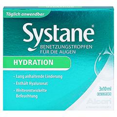 SYSTANE Hydration Benetzungstropfen für die Augen + gratis Systane Taschentücher 3x10 Milliliter - Vorderseite