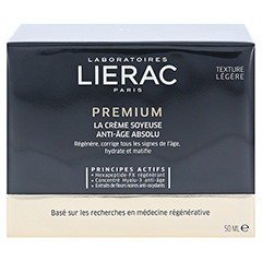 LIERAC Premium seidige Creme 18 + gratis Lierac Kosmetiktasche 50 Milliliter - Rückseite