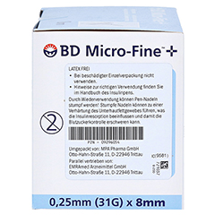 BD MICRO-FINE+ 8 Pen-Nadeln 0,25x8 mm 100 Stück - Rechte Seite