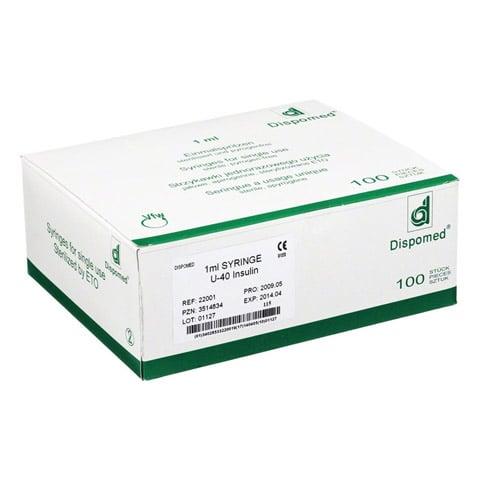 DISPOMED Insulinspritze 1 ml U40 o.Kan. 100 Stück