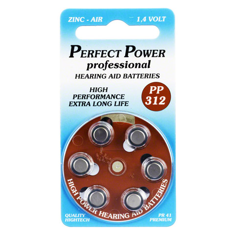 BATTERIEN f.Hörgeräte Power PP312 6 Stück