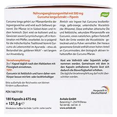 CURCUMIN 500 mg 95% Curcuminoide+Piperin Kapseln 180 Stück - Rückseite