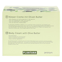 PLANTANA Olive Butter Körper Creme 500 Milliliter - Rückseite