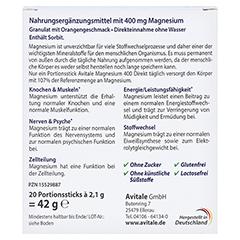 MAGNESIUM 400 direkt Orange Portionssticks 20x2.1 Gramm - Rückseite