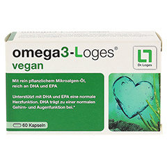 OMEGA3-Loges vegan Kapseln 60 Stück - Vorderseite