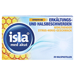 isla med akut Halspastillen Zitrus-Honig-Geschmack 20 Stück - Vorderseite