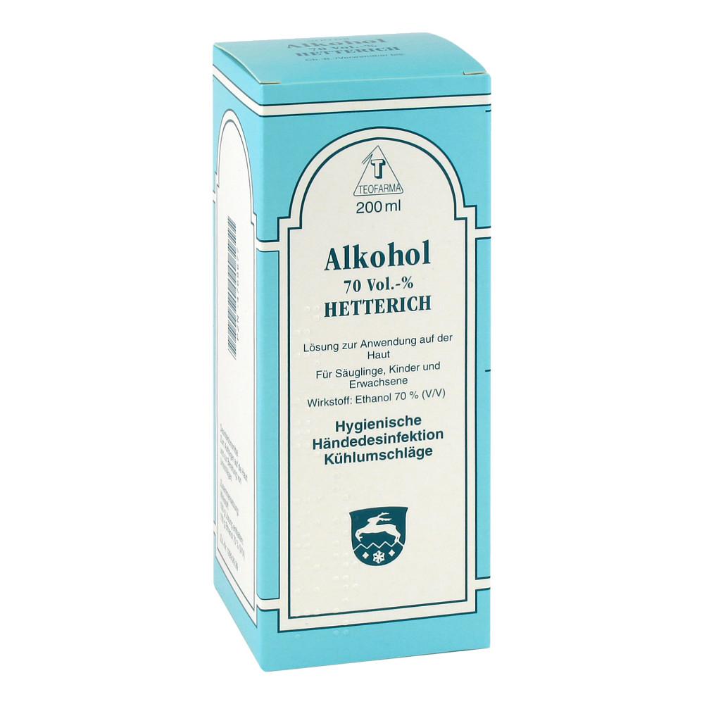 alkohol 70 v v hetterich 200 milliliter online bestellen medpex versandapotheke. Black Bedroom Furniture Sets. Home Design Ideas