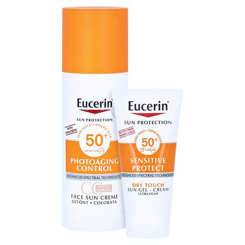 Eucerin Sun Creme getönt mittel LSF 50+ + gratis Eucerin Sun Oil Control Body LSF50+ 50 Milliliter
