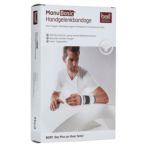 BORT ManuBasic Bandage rechts medium haut 1 Stück