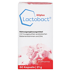 LACTOBACT 60plus magensaftresistente Kapseln 60 Stück - Vorderseite