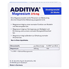 ADDITIVA Magnesium 375 mg Sticks Orange 20 Stück - Rückseite