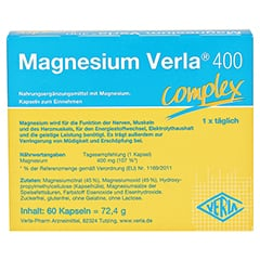 Magnesium Verla 400 Kapseln 60 Stück - Rückseite