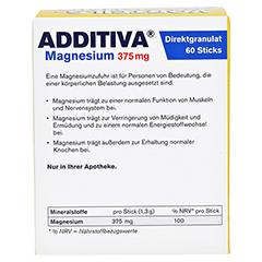 Additiva Magnesium 375 mg Sticks 60 Stück - Rückseite
