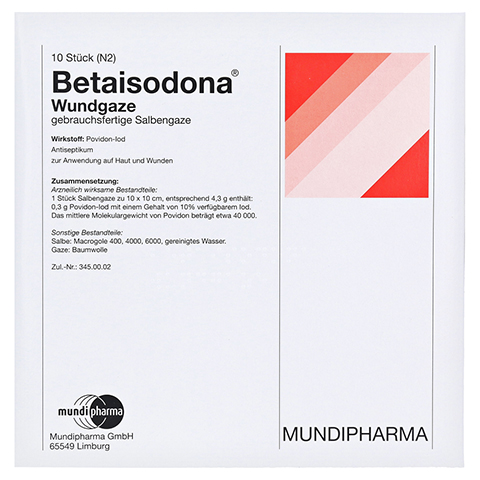 BETAISODONA Wundgaze 10x10 cm 10 Stück N2
