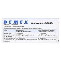DEMEX Zahnschmerztabletten 20 Stück - Rückseite
