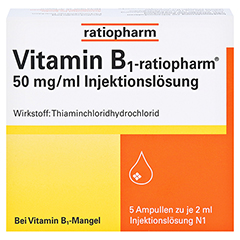 Vitamin B1-ratiopharm 50mg/ml Injektionslösung 5x2 Milliliter N1 - Vorderseite