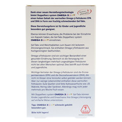 DOPPELHERZ Omega 3 Junior Gel Tabs system Kautabl. 60 St�ck - R�ckseite