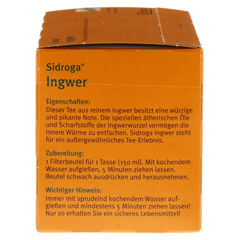 SIDROGA Ingwer Tee Filterbeutel 20 Stück - Linke Seite