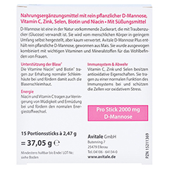 Avitale D-Mannose Plus 2000 mg Sticks 15x2.47 Gramm - Rückseite