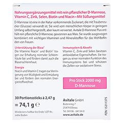 D-mannose Plus 2000mg mit Vitaminen und Mineralstoffen Sticks 30x2.47 Gramm - Rückseite