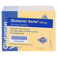 GLUTAMIN VERLA überzogene Tabletten 250 Stück - Rückseite