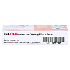 IBU-LYSIN-ratiopharm 400mg 10 Stück N1 - Unterseite